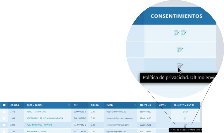 gestión de consentimientos firmados de políticas de la empresa