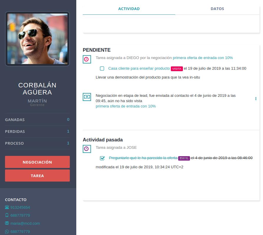 CRM para cotrolar posibles clientes potenciales